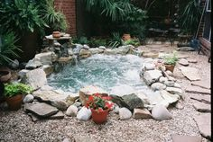 """A Vacation in My Own Back Yard, Custom in-ground hot tub for super small yard, I wanted to be able to """"swim"""" in the pond, so I decided to change it out for an in-ground spa. The spa has 8 jets and can be heated to 104 degrees F."""