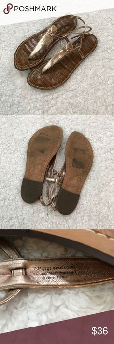 Sam Edelman Rose Gold Gigi T Strap Sandals So cute! Front of sandal slightly curves up, can be seen in first photo. Sam Edelman Shoes Sandals