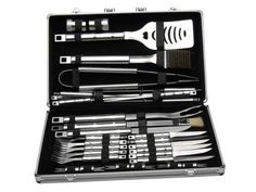 BergHOFF Cubo 33Pc Bbq Set In Case by Berghoff. $209.99. WHATâ?TMS INCLUDED:  Barbeque Set  2 1/2 inch salt cellar,2 1/2 inch pepper pot, 6 2 1/4 inch corncob holders, 6 (10 inch) steak knives, 6 (10 inch) steak forks, 16 1/2 inch barbecue knife, 18 inch grill scraper,18 inch slotted turner, 18 1/2 inch small brush, 18 1/2 inches meat fork, 18 1/2 inch tongs, 6 (18 1/2 inch) skewers, and carrying case. Perfect for hobby and professional cooking.