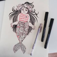 "549 curtidas, 5 comentários - Isadora Zeferino (@imzeferino) no Instagram: ""an unassuming flower merm  for today, i'm really late but not even counting anymore?? #mermay2017…"""