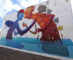 Something new from Andrew Hem and Ekundayo in Hawaii for @powwowworldwide #streetartnews #streetart @andrewhem @sorrowbecomesjoy  @romrom by streetartnews
