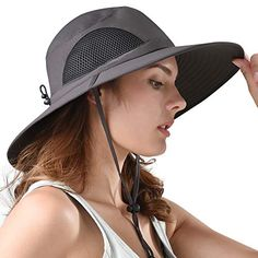 f0452032b9354 FURTALK Safari Sun Hats for Women Wide Brim UV UPF Ponytail Outdoor Hunting  Summer Fishing Hiking Hat (Y-Non-Waterproof Deep Grey
