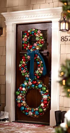 Christmas Decorations ● Door Wreaths... Maybe all white if door is dark enough