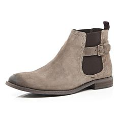 Light brown leather buckle trim Chelsea boots #riverisland #RImenswear