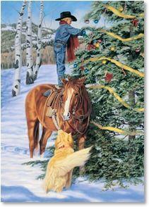 Lil Cowboy decorating for Christmas Christmas Horses, Cowboy Christmas, Christmas Animals, Primitive Christmas, Country Christmas, Winter Christmas, Primitive Fall, Merry Christmas, Primitive Snowmen