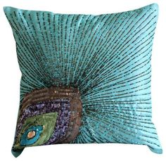 Decorative Indie Sham Cover with Colourful Feathers PEACOCK PILLOW COVER