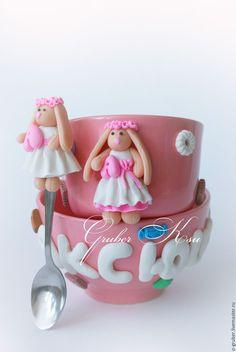 Купить Набор посуды с зайкой - розовый, вкусная ложка, вкусная ложечка, подарок, ложка с декором