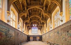perspective shot of Henry VIII's Great Hall at Hampton Court Palace.