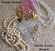 Vintage Swarovski Crystals and Natural Saltwater Baroque Pearls ~ #Vintage #Jewelry #Crystals #Pearls #Fashion #Style