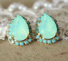 Mint Crystal big teardrop stud earring by #iloniti