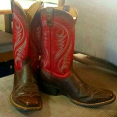 Womens Red Ariat Boots Nice pair of Red Ariat square toe boots Ariat Shoes Winter & Rain Boots