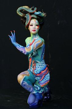 A model wears body art by Shin Won-Sun of South Korea during 2008 World Body Painting Festival Asia at World Cup Stadium Painting Tattoo, Painting Art, Painting Gallery, Make Up Art, Wow Art, Human Art, Woman Painting, Face Art, Airbrush