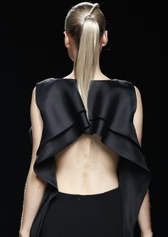 Black dress with open back & frill detailing; fashion details // Amaya Arzuaga Spring 2014