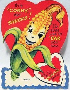 J1572 50s Anthropomorphic Corn Cob! Vintage Diecut Valentine Card (02/19/2014)