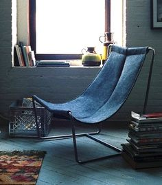 recycled blue jean sling chair