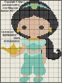 Grille gratuite point de croix : Petite jasmine