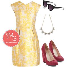 In this outfit: Right Buttercup Your Alley Dress, My Sun and Only Sunglasses, Flashbulb Fab Necklace, Fit for a Fashionista Heel in Burgundy #bright #colorful #ModCloth #ModStylist #spring #summer #fashion #outfits #ootd #dresses #trends #cute #floral