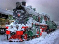 Christmas Train-Loved the Christmas Trains running out of Denver, Colorado, my Grandma Momo lived across from the Train yards-Marilyn (Busby) Horchem♥♥