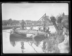 The Army at Hills Meadows, Reading (two of two) Photograph from Reading Chronicle Collection - June 1938 Army demonstration - building a pontoon bridge.  An Army demonstration at Hills Meadow in Caversham - building a temporary pontoon bridge across the River Thames.