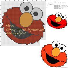 Disney Cross Stitch Patterns, Cross Stitch For Kids, Cross Stitch Baby, Counted Cross Stitch Patterns, Cross Stitch Charts, Beaded Cross Stitch, Cross Stitch Embroidery, C2c, Elmo And Friends