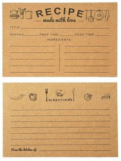 These Vintage Recipe cards in Kraft Paper are the perfect touch for a family reunion potluck. Everyone makes their favorite family dinner and shares it along with the recipe. Make and recreate happy memories at home. Family Reunion Decorations, Scrapbook Recipe Book, Recipe Book Design, Weird Vintage, Printable Recipe Cards, Food Displays, Vintage Recipes, French Recipes, Recipe Box