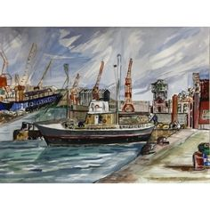 "Barcelona Art Market ""Barcelona terminal port""  Technique: WATERCOLOR on paper Artist: BENJAMÍ TOUS Size of set: 46 x 61 cm / 18.1 x 24 inches #painting"