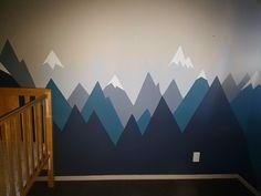 Mountain Mural. Boys nursery decor. Woodland theme Diy.