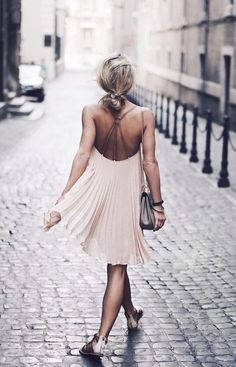 pleats from the back.