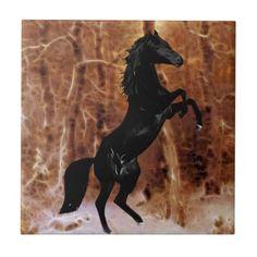 A black horse in winter snow ceramic tile