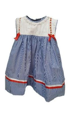 Traditional blue striped dress with an elegant pintuck bodice and contrasting red trim for the classic little girl. Nautical Summer Dresses, Ribbon Bows, Satin Ribbons, Bodice, Neckline, White Satin, Toddler Fashion, Striped Dress, Frocks