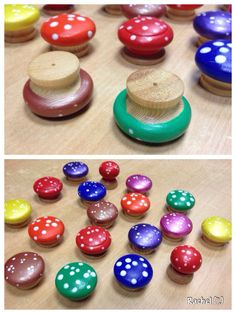 """Toadstools made by painting drawer handles - from Rachel ("""",)"""