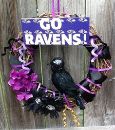 Baltimore Ravens Inspired Wreath by FinnzUp on Etsy, $35.00