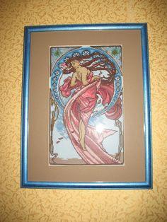 "Cross Stitch by Yaroslava Shevchenko (Russia). Работа выполнена по картине Альфонса Мухи ""Танец""."