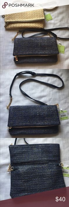 "NWT Deux Luxe clutch with shoulder strap New with tags deux lux Sonoma clutch.  Available in Navy/Gold and Oatmeal/silver.  Zipper at top which folds over with magnetic closure.  Removable chain strap.  One exterior pocket (when unfolded) for quick access to necessities such as a cellphone.  Beautiful straw with metallic threads for an interesting look.  Comes  with dust bag.  Measures approx 6.5"" x 11"" when folded closed.  Pet/smoke free home. Deux Lux Bags Clutches & Wristlets"