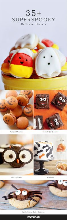 37 Scarily Cute Halloween Sweets Halloween doesn't have to be all about candy! We've got the recipes for over 35 awesome, creative desserts, all sure to inspire you to create your own spooky cookies, cakes, and more. Halloween Desserts, Diy Halloween, Halloween Mono, Postres Halloween, Hallowen Food, Theme Halloween, Halloween Baking, Halloween Goodies, Halloween Food For Party