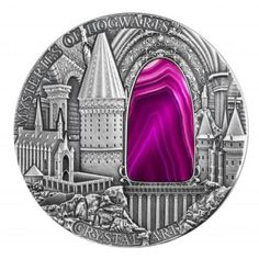 2015 Niue 2 oz $2 silver coin - Crystal Art: Mysteries of Hogwarts (colored crystal glass insert).