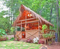 DIY PLANS Tiki Hut  Bamboo bungalow with Tiki bar.