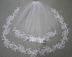 New 2 T White/Ivory Lace Applique Edge Bridal Wedding Veil With Comb