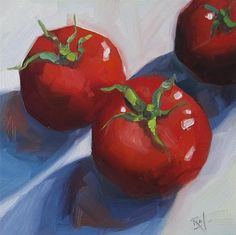 """Daily Paintworks - """"No 790 Three for Lunch"""" - Original Fine Art for Sale - © Robin J Mitchell"""