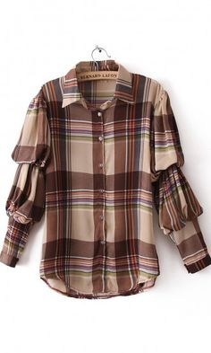 Lapel plaid Puff Sleeve blouse coffee