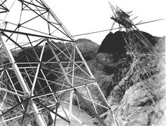 """Boulder Dam, 1941,"" close-up of transmission lines on side of cliff. Makes my heart skip a beat but I know my husband would love to see them maybe on our Vegas trip we'll make the drive to check them out."