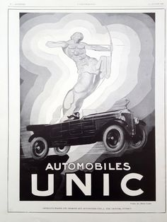 Unic automobiles ad, 1928 vintage poster, old car advertising, French illustration print, original art deco old magazine ad, Unic poster by OldMag on Etsy