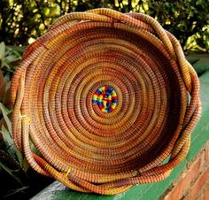 Twisted Pine Needle Basket- Multicolor, Made by local women artisans in rural Nicaragua through a basket making cooperative, $37.00