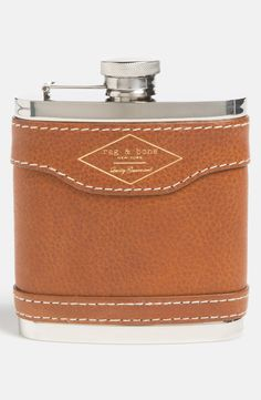 Gift idea for the mister   Leather Wrapped Stainless Steel Hip Flask