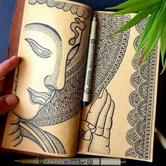 Outline Drawings, Cool Art Drawings, Mandala Art Therapy, Buddha Art, Handmade Journals, Mandala Design, Folk Art, Design Art, Canvas Art