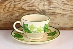 Franciscan Ware Ivy Cup and Saucer Set, Made in USA, California Pottery, Very Good Condition, American Made, I Love Lucy Dishes