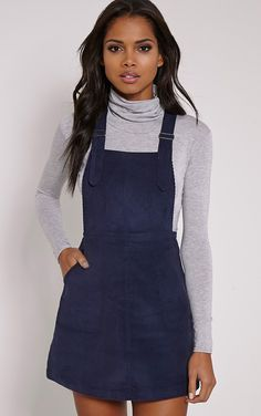 Sila Navy Cord Pinafore Mini Dress - Dresses - PrettylittleThing | PrettyLittleThing.com