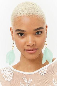 Feather Rhinestone Drop Earrings
