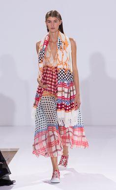 Temperley London Summer 15, Long Coralie Check V-Neck Dress, Coralie Check Pareo, Coralie Check Lace Ups