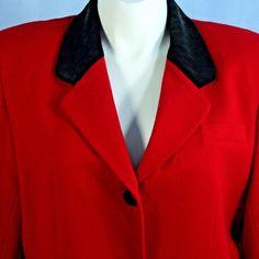 Equestrian Jacket Red Merino Wool Black Velvet Riding Holiday Blazer size 18 EXC #CrossCountryFashions #Blazer